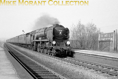 April 27th, 1963 was F.A. Cup semi-final day and the match at Villa Park was Man. Utd. vs Southampton which the former won by the only goal scored on that occasion. There were 10 specials from Southampton to Birmingham that were routed via the GWR line to Birmingham via Banbury and nine of those saw Bulleid pacific haulage throughout. This one, hauled by 34028 Eddystone, is depicted storming through Fritwell & Somerton station.