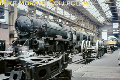 Rebuilt Bulleid West Country pacific no. 34025 Whimple under repair in Eastleigh Works on 9/1/66. 34025 survived until the end of SR steam and was in charge of the penultimate Bournemouth Belle.