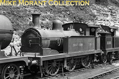 Stirling SER design no. 1335 was the first of his class 'R' 0-6-0t built in 1888 and which Wainright under the auspices of the SECR subsequently rebuilt in 1915 to become the R1 class as depicted here at St. Leonards mpd on 23/6/49. Its BR number, 31335, was applied in April 1951 and, still at the same shed, was withdrawn in July 1955.