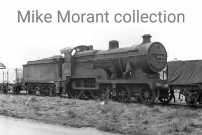 SECR Maunsell 'D1' class 4-4-0 no. 31494 stored at Feltham mpd on 23/4/60 whilst nominally allocatred to Nine Elms mpd. It's unlikely that 31494 ever saw any further service but the official withdrawal date, for the record, was August 1960. No. 31494 was rebuilt from a Wainwright 'D' class by Beyer Peacock in 1921.