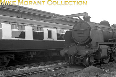 SECR Maunsell designed 'N' class mogul no. 31414 at Ramsgate station on 8/6/59. No. 31414 was built by the Southern railway in 1934 and was the last member of the class to emerge from Ashford works in 1934. Withdrawal would come in November 1962 whilst allocated to Guildford mpd.