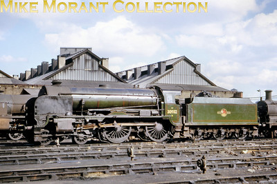 Southern Maunsell  'Schools' class 4-4-0 no. 30902 Wellington at Nine Elms mpd on September 29th, 1962 just three months before withdrawal at the same shed.