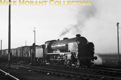 November 1962 at Feltham yard and it's nearly the end of the line for Maunsell Schools class 4-4-0 no. 30903 Charterhouse which has been relegated to freight duties with withdrawal only a month away. [A. E. 'Dusty' Durrant / Mike Morant collection]