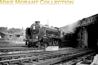Maunsell 'Schools' class 4-4-0 no. 30901 Winchester in BR lined black livery and wearing a 74E St. Leonards shed plate departs from Sevenoaks with a service bound for London.. Is it my imagination or is the BR badge set abnormally high on the tender side? [Mike Morant collection]