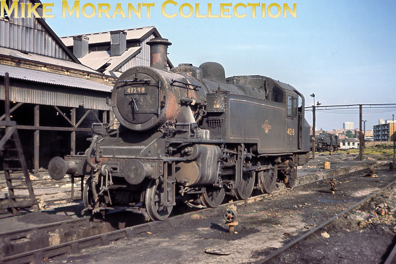 'Mickey Mouse tank, Ivatt 2MT 2-6-2T No. 41298, was a long term residenmt and a familiar sight at Nine Elms mpd and is seen here looking much the worse for wear at home on June 5th 1967.