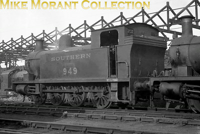 No. 949 Hecate was an 0-8-0T built by Hawthorn Leslie in 1904 for the Kent & East Sussex Railway which, in 1932, exchanged her for some Southern rolling stock as she was of little use to the KESR. Here we see her probably post-war at Nine Elms shed in London with, just peeping in at the right of the image, the former PDSWJR 0-6-2T A. S. Harris. Hecate, following a confrontation with a King Arthur class loco, was withdrawn and scrapped in 1950.