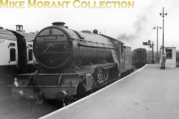 The Southern's shortage of express motive power when all the Bulleid pacifics were temporaily withdrawn in May 1953 following a cracked axle incident led to several Gresley V2 class prairies moving to Nine Elms mpd to cover some of their duties. No. 60917, on loan from Doncaster mpd, is depicted here at Waterloo having just dropped away from departing carriage stock.