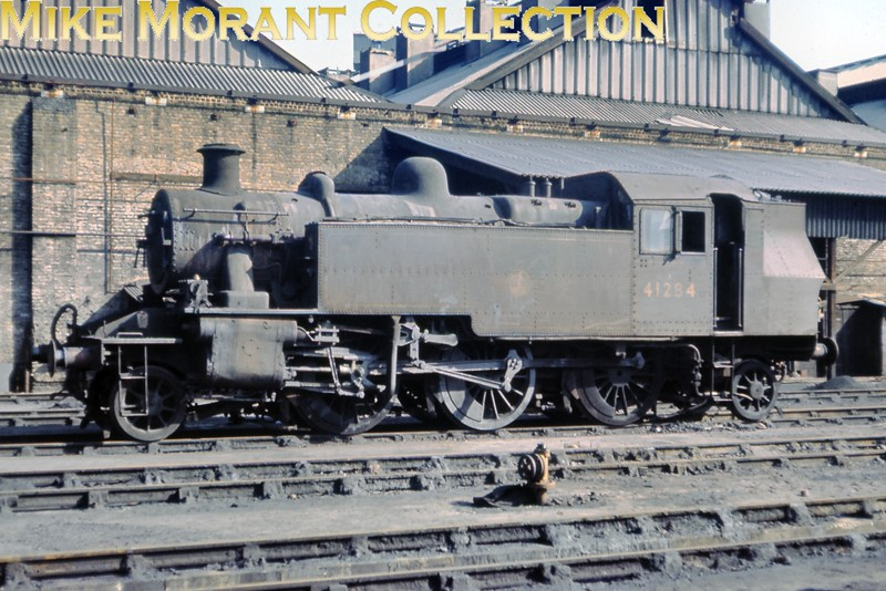 Ivatt 2MT 'Mickey Mouse' 2-6-2T no. 41284 at Nine Elms mpd on March 11th, 1967. 41284 hadn't arrived on the Southern until June 1961 and had come to Nine Elms in October 1966 but didn't see out the end of SR steam being withdrawn in March 1967. [Slide taken by Mike Morant]