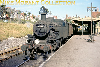 Ivatt Mickey Mouse 2MT 2-6-2T seemingly masquerading as a horticulturist at Swanage's delightful terminus probably in July 1966. 41224 got around a bit during its relatively short working life and had been allocated to Bangor, Rhyl, Warrington, Monument Lane, Walsall, Watford, Bedford, Wellingborough, Eastleigh , Barnstaple Junction, Exmouth Junction, Nine Elms and finally Bournemouth in November 1964 where she remained until withdrawal at the end of SR steam operations in July 1967. That's about 13 sheds in 19 years.