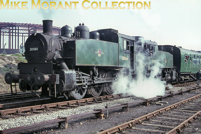 RCTS: The Solent Rail Tour 20/3/66. Back-to-back green liveried USA 0-6-0T's nos. 30064 and 30073 at Fawley.