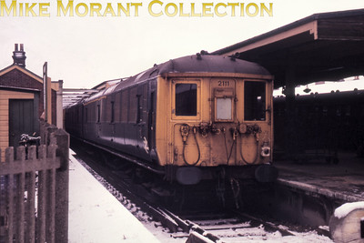 Southern electric 2-BIL unit No. 2111 in snowy conditions at Littlehampton in 1970.