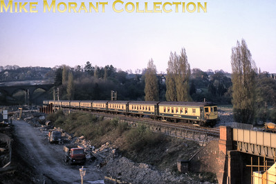 An undated view of  the Southern Region's electric Brighton Belle near Merstham on the Quarry Line near the end of the Belle's days in 1972. A viewer has  noted in the background the sheet piling for excavation of the M25 underbridge. [Mike Morant collection].
