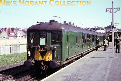 Southern electric 2-Bil unit no. 2145 at Seaford station on 24/4/66.