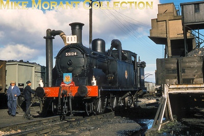 Branch Line Society: The Pentland and Tinto Express 30/9/61 Caledonian Railway Lambie designed '19' class 0-4-4T was splendidly turned out for this tour in plain black livery and is depicted here being serviced at Carstairs shed. 55124 was the last survivor of this class  - 55126 had been withdrawn in the July and this was probably her swansong as withdrawal from service at Dalry Road shed was in October 1961. [Mike Morant collection]