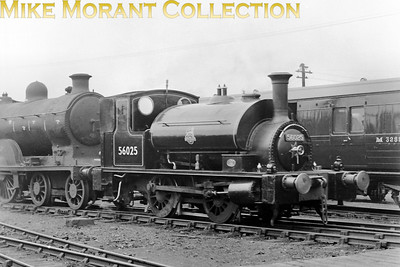 It's a pleasure to see a picture of an immaculate 'pug' in lined BR black livery, This is Drummond designed former Caledonian Railway 0-4-0ST No. 56025 very much at home at St, Rollox following overhaul and repaint photographed on 31/5/50. 56025 was the St. Rollox works shunter that had survived withdrawal and reinstatement way back in 1939 and would extend her working life for a further twenty one years.