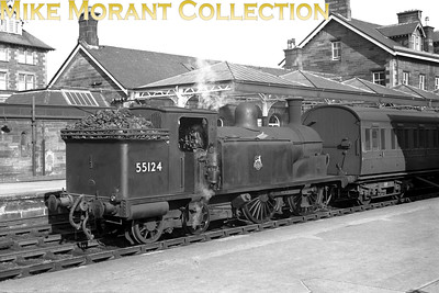 Former Caledonian Railway, Lambie designed '19' class 0-4-4T no. 55124 is depicted here at Dumfries station on May 19th, 1956. No. 55124, seen here in clean unlined black BR livery, was a Dumfries allocated engine and would be withdrawn as the last member of its class at Dalry Road mpd in October 1961. [Mike Morant collection]