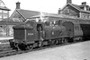Former Caledonian Railway, Lambie designed '19' class 0-4-4T no. 55124 is depicted here at Dumfries station on May 19th, 1956. No. 55124, seen here in clean unlined black BR livery, was a Dumfries allocated engine and would be withdrawn as the last member of its class at Dalry Road mpd in October 1961.<br> <i>[Mike Morant collection]</i>