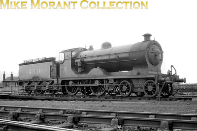 LMSR 3P class 4-4-0 no. 14510  was built in 1913 by NBL (works no. 20128 under order L522) to a Peter Drummond design for the Glasgow & South Western Railway and entered service with the number 131 which was revised to 331 in that railway's 1919 renumbering scheme. 14510 was the first of six of this 131 class all built by NBL which was a class that fell short of expectations although a much improved superheated version, also six class members but built at Kilmarnock, came along a couple of years later. 14510 was superheated in 1923 and this shot was taken at Hurlford shed in 1927. G&SWR locos didn't survive for long under LMS ownership and 14510's fate was sealed when withdrawn in September 1936. [Mike Morant collection]