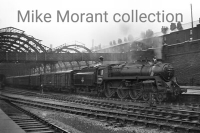 BR Standard 5MT 4-6-0 no. 73053, a Holbeck engine at the time, prepares for departure from Sheffield Midland on 10/1/55.