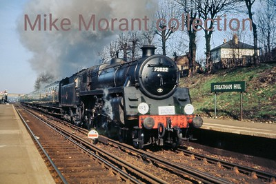 SCTS: The Southern Wanderer 28/3/65 A sunny Streatham Hill station sees Standard 5MT 4-6-0 73022 storming through en route from Victoria to Templecombe via the south coast.