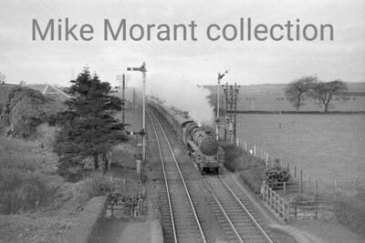 BR Standard 5MT no. 73008 in charge of a Glasgow to Aberdeen service is framed by the tall signal posts at the south end of Greenloaning station between Dunblane and Gleneagles. The former Caledonian railway station at Greenloaning closed to passenger traffic on 11/6/56. 73008 was built at Deby in July 1951 and was allocated to Perth until July 1964 with the exception of the period from 7/51 - 4/52 spent at the Rugby testing station. Her only other home shed came with allocation to  61B Aberdeen Ferryhill where she was withdrawn in September 1965.  [Mike Morant collection]