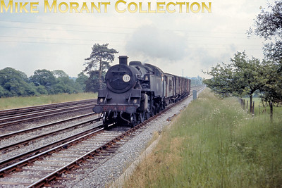 There was quite a bit of steam activity at or near Hook on June 10th 1967 just a month before the cessation of steam operations in the south of England. BR Standard 4MT 2-6-4T No. 80015 scuttles towards the camera on the diown slow line with a short goods train. This would be my last sighting of this class in action in the south of England and somewhat ironically this was the first engine of the class that I ever pohotographed at East Croydon back in about 1955.
