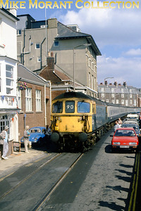 Class 33/1 diesel no. 33103 inches its way along the Weymouth Quay Tramway on 26/8/89 with a charter that's on its way back to Burton-on-Trent. There's no mention of this jolly on the sixbellsjunction web site. [Photographer: John Chalcroft / Mike Morant collection]