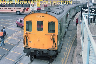 BR: Staff Farewell Tour St Leonards Inspection Shed 12/9/87 Hastings DEMU no. 203001 at Weymouth Quay station. [Mike Morant collection]