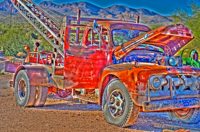 Old tow truck that sit's in a Ghost Town near Apache Junction, outside of Phoenix Arizona.