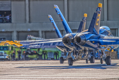 Blue Angels taxi out from the San Francisco Int'l Airport to do their performance during Fleet Week 2012.