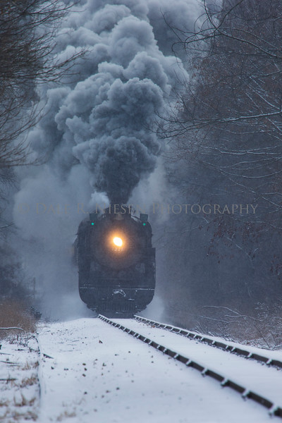 Dashing through the snow the Pere Marquette Railway Steam Locomotive No.1225 approaches Carland, Michigan. 12/09/2017