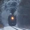 Dashing through the snow the Pere Marquette Railway Steam Locomotive No.1225 approaches Carland, Michigan. 12/09/2017