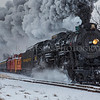 The real polar express better known as the Pere Marquette Railway Steam Locomotive No.1225 blows through Carland, Michigan during a snow shower 12/09/2017.