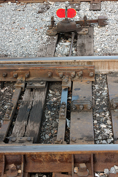 Manual switch for switching tracks.