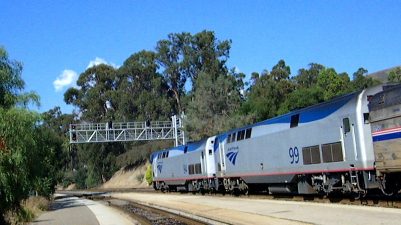 Amtrak's northbound Coast Starlight - train 14 - gets underway from San Luis Obispo on the first day of its run from Los Angeles to Seattle on 9-12-11.