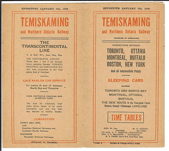 1929 January 6 Temiskaming & Northern Ontario timetable