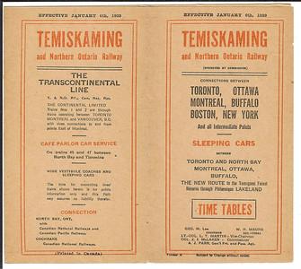 1929 January 6 Temiskaming & Northern Ontario timetable