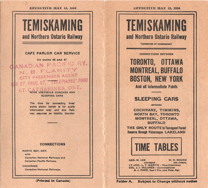 1934 May 13 timetable Temiskaming and Northern Ontario Railway cover