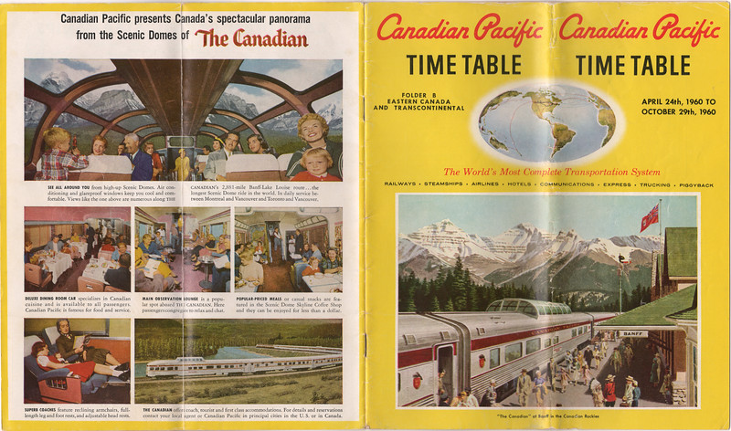 Canadian Pacific Railway timetable April 24 1960 to October 29 1960 folder B Eastern Canada and Transcontinental - back and front covers