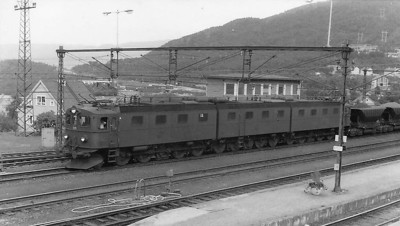 Huge electric locomotive pulling an ironoretrain in Narvik, Norway.