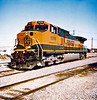"Mobest Yard, Phoenix, Arizona 1997<br /> <br /> First sighting of BNSF ""Heritage"" paint scheme."