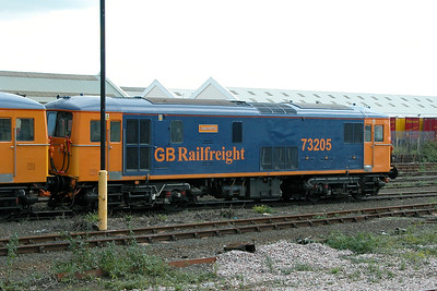 Class 73 No 73205 at Eastleigh on 17 October 2004