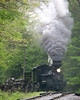 The rain begins to fall, creating a haze down the tracks.  Image taken at the 2008 Cass Railfan Weekend