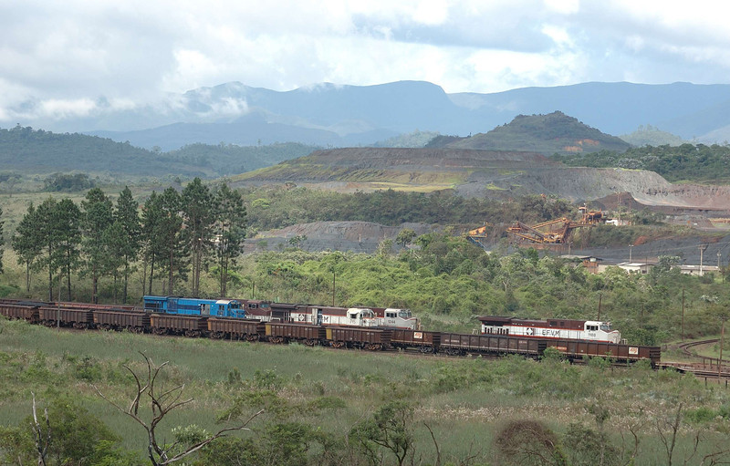My first view of the railway and some of its exotic motive power was at Fazenao. The hills and mountains between Ouro Preto and Costa Lacerda are marked with the scars of large scale iron ore mining, most of it by Brasil's giant mining company, CVRD (Companhia Vale do Rio Doce) or Vale as it is known today.