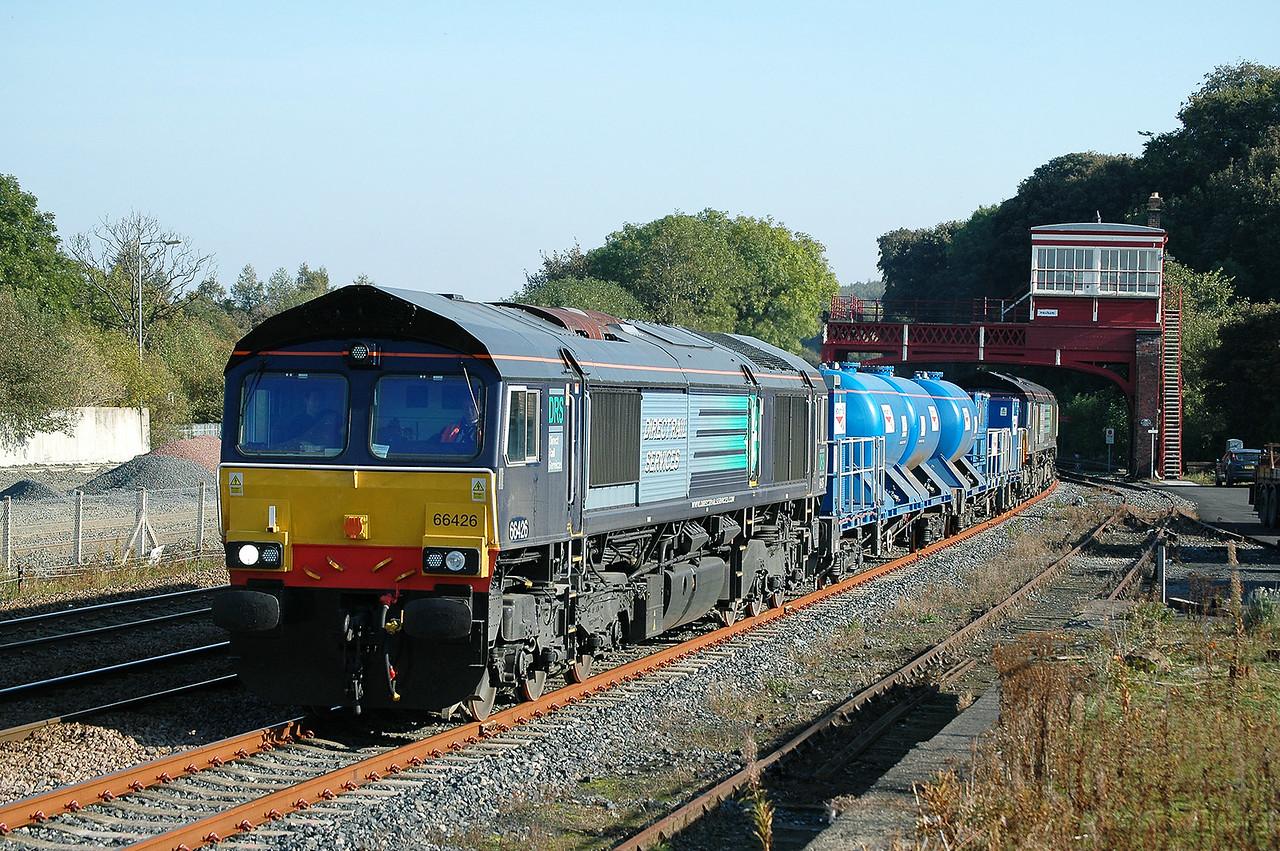 Class 66 No 66426+66420 at Hexham on 6 October 2007 with the 3S10 05:40 Carlisle Kingmoor - Carlisle Kingmoor