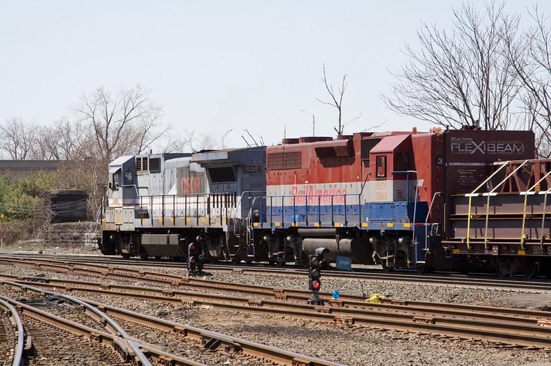Mass Central mixed freight through Springfield Amtrak station