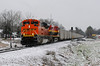 Back to the crossing and, as ths snow stopped another southbound, this time one of the unit coal trains with run-through power, in this case an EMD SD70 ACe. Behind it was a KCS GE. The application of the streamlined Southern Belle livery to these lumpy diesels shows, I think, how US design standards have slipped recently. Luckily KCS still rosters plenty of 2nd generation EMD power of the 70s and 80s, which are a much more pleasing example of industrial design.