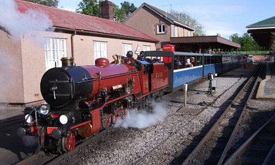 River Mite prepares to leave Ravenglass with an evening special train, to raise funds for the Ratty's Three Peaks Challenge by Rail team, 23/05/09.