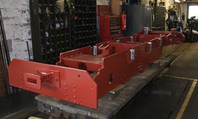 The frames of Northern Rock, under major overhaul in the workshops at Ravenglass, 08/04/09.