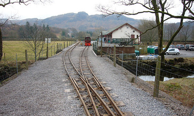 New developments at Dalegarth for Boot, with the relaying of the station throat pointwork. Douglas Ferreira sits in the platform, 14/02/09.